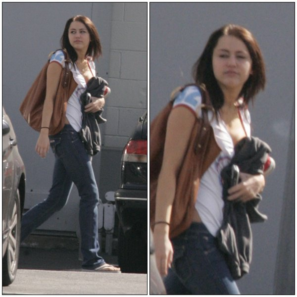 Miley arrives at a recording studio in Burbank - March 6, 2008