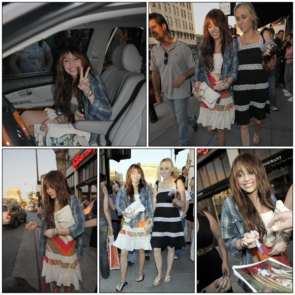 Miley Cyrus and mom leaving the Cheesecake Factory - March 22, 2008