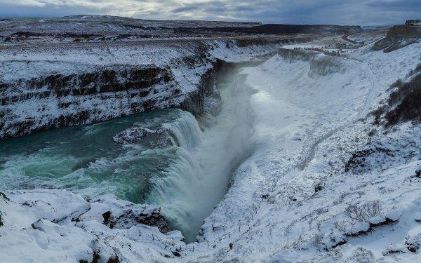 La chute Gullfoss, sur la Hvítá, l'un des trois sites du Cercle d'or islandais
