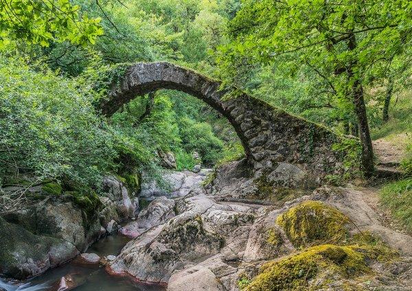 Le pont du Parayre enjambant le ruisseau d'Audiernes, à Peyrusse-le-Roc (Occitanie)