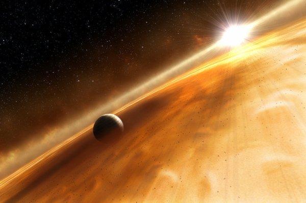 Vue d'artiste représentant la planète Fomalhaut b et son anneau gravitant autour de l'étoile Fomalhaut A