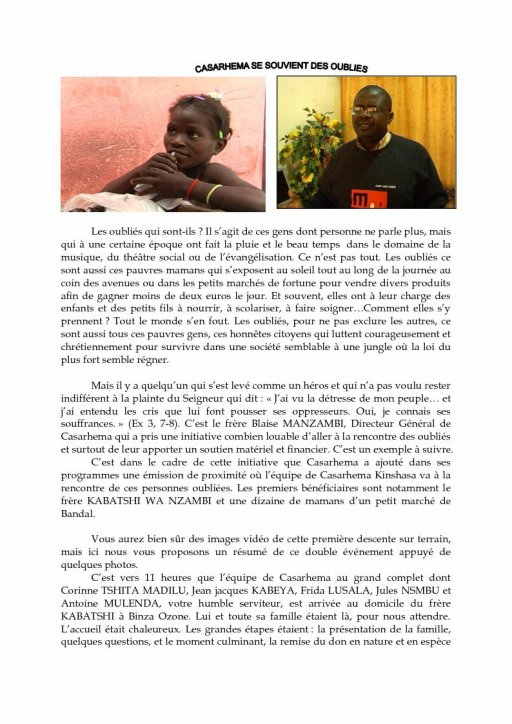 casarhema association lance OPERATION BOLINGO