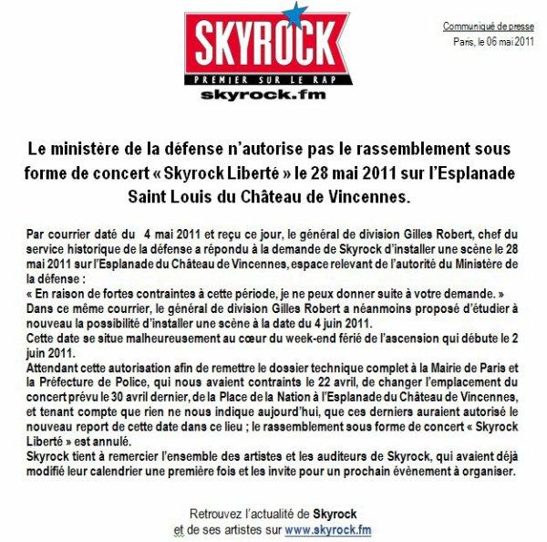 SKYROCK : Le ministère de la défense n'autorise pas le concert Skyrock Liberté du 28 mai 2011 !!