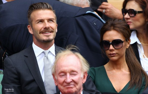Le couple Beckham était présent lors de la finale masculine à Wimbledon entre Roger Federer et Andy Murray !   (dimanche (8 Juillet) à Londres, en Angleterre.)