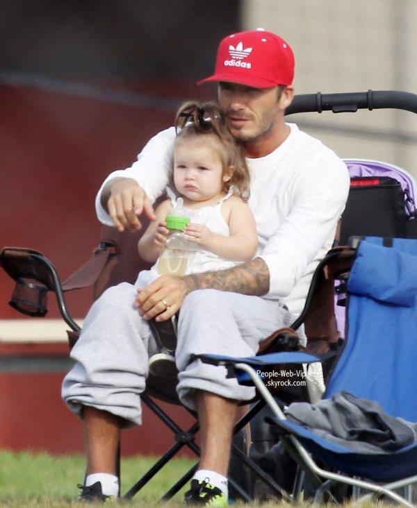 David Beckham avec son adorable fille Harper tout en regardant ses garçons qui jouent au football  (samedi (Septembre 22) à Los Angeles.)