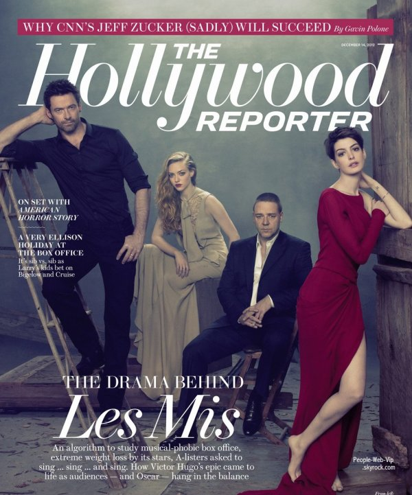 "Les acteurs du film "" Les Misérables ""  En couverture du magazine "" The Hollywood Reporter"""
