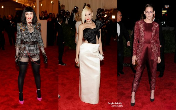 LE TAPIS ROUGE DE LA CÉRÉMONIE DES MET GALA 2013 ! OU TROUVER LES PIRES LOOKS DES STARS ? C'EST BIEN AU MET GALA !  Madonna, 54 ans, s'habille comme une pros..... mais aussi Kristen Stewart, Marion Cottillard, Gwen Stefani et Sarah Jessica Parker (au Metropolitan Museum of Art, le lundi (le 6 mai) à New York.)