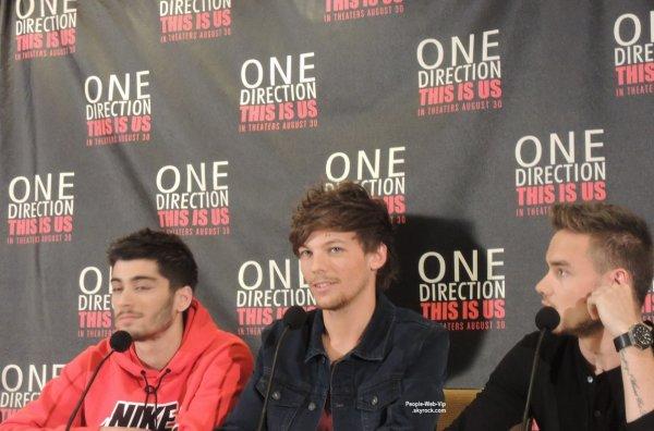Les garçon des One Direction aperçus à une conférence de presse pour leur prochain film One Direction: This Is Us  (samedi (24 Août) à l'Hôtel Four Seasons à New York City.)