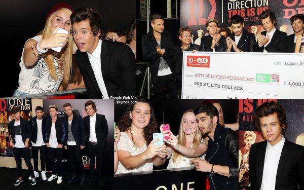 Les One Direction à la première de leur dernier film One Direction: This Is Us organisé au Théâtre Ziegfeld  (lundi (26 Août) à New York.)