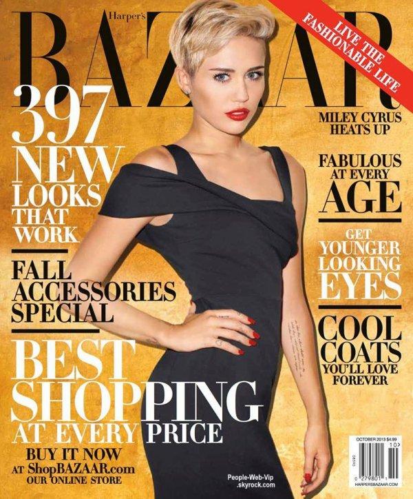 """Miley Cyrus En couverture du magazine """" Harper's Bazaar's """" a paraître pour octobre.. On aime ?"""