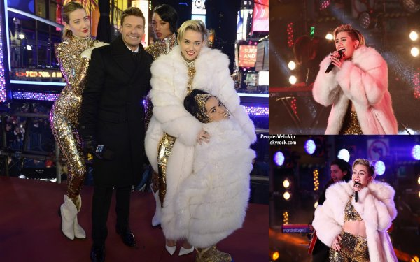 "Dick Clark's New Year's Rockin' Eve 2014 Bonne année avec Miley ! Miley Cyrus frappe la scène avec ses danseurs au New Year's Rockin' Eve 2014 pour y chanté ""Get It Right"" et ""Wrecking Ball""  (mardi soir (31 décembre ) dans le c½ur de Times Square à New York .)"