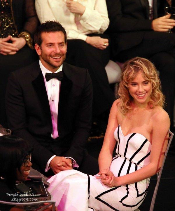 Bradley Cooper était assis à côté de sa petite amie Suki Waterhouse pendant l'émission des Screen Actors Guild Awards 2014 (au Shrine Auditorium , samedi (18 Janvier ) à Los Angeles)