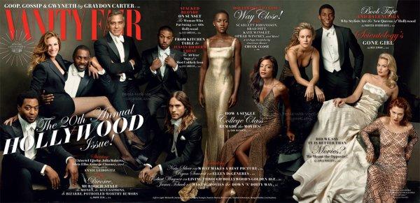 "Chiwetel Ejiofor, Julia Roberts, Idris Elba, George Clooney, Annie Leibovitz, are Michael B. Jordan, Jared Leto, Lupita Nyong'o, Naomie Harris, Brie Larson, Chadwick Boseman, Margot Robbie, et Lea Seydoux. Tous, en couverture du magazine "" Vanity Fair's 2014 Hollywood Issue ""  Qu'en pensez vous ?"