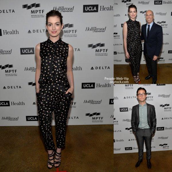 """Anne Hathaway et Joseph Gordon -Levitt se retrouvent alors qu'il assistait à une soirée de charité """"3rd Annual Reel Stories, Real Lives gala.""""  ( samedi (5 Avril ) à Milk Studios à Hollywood )"""