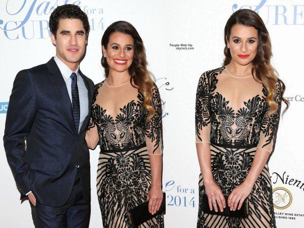 """Lea Michele élégante a été rejoint sur le tapis rouge par sa co-star de Glee, Darren Criss pendant la """"Jonsson Cancer Center Foundation's 2014""""  (au Regent Beverly Wilshire Hôtel le vendredi (25 Avril ) à Beverly Hills , en Californie)"""