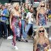 Rita Ora a été aperçue a la sortie de son Hôtel Mercer  dans une tenue fleuri.   (vendredi (3 mai) dans le quartier de Soho à New York.)