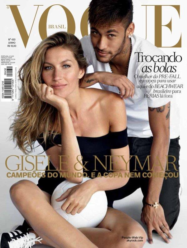 """Gisèle Bundchen et Neymar : Ils font monter la température avant la Coupe du Monde pour la couverture du magazine """"VOGUE Bresil"""""""
