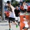Justin Bieber, le chanteur de 20 ans, a fait son jogging dans les rues de la Californie.  ( vendredi après-midi (8 Août) à West Hollywood, en Californie. )