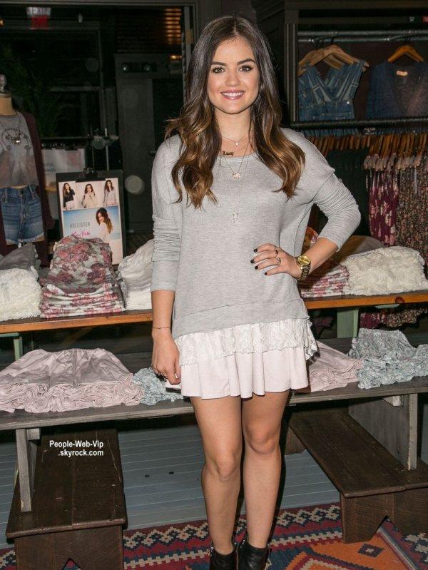 Lucy Hale prend la pose au Westfield Century City pour le lancement de sa ligne de vêtement en collaboration avec Hollister Co (samedi après-midi (9 Août) à Los Angeles. )