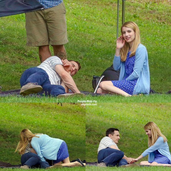 James Franco embrasse Emma Roberts pendant le tournage de leur dernier film Michael dans un parc à Long Island (samedi après-midi (30 Août) , New York. )