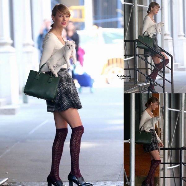 Taylor Swift a été aperçue dans les rues de New York avec son chaton Olivia Benson  ( mardi après-midi (Septembre 16) à New York. )