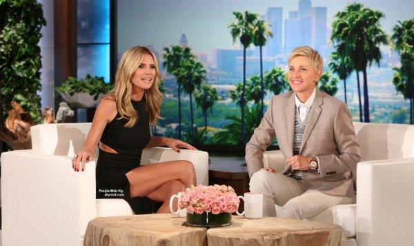 Heidi Klum, sur le rebord de la cuve d'eau lors d'une apparition dans l'émisson The Ellen DeGeneres Show  (mercredi (15 Octobre)