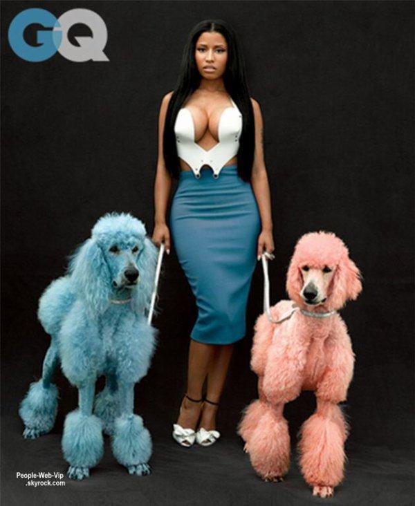 La rappeuse Nicki Minaj fait monter la chaleur pour son nouveau shoot pour le numéro de Novembre du magazine américain GQ.La chanteuse de 31 ans pose pour les photos de studio de Mark Seliger, aux côtés de deux caniches colorés.  Qu'en pensez vous?