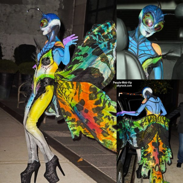 """LE MEILLEURE COSTUME EST ATTRIBUÉ A HEIDU KLUM ! Heidi Klum dans son costume de papillon alien pour la 15ème soirée """"Moto X"""" d'Hallloween au """"TAO Downtown"""". BRAVO HEIDI ! REINE D'HALLOWEEN ! ( vendredi soir (31 Octobre) à New York. )"""