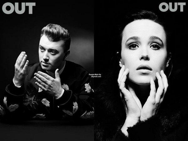 Ellen Page pose sur l'une des multiples couvertures du numéro de Décembre du magazine OUT.  Zachary Quinto, Samira Wiley et Sam Smith.  Qu'en pensez vous?