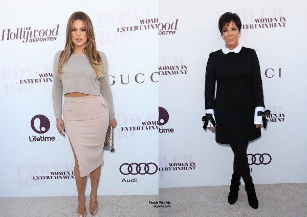 """Khloe Kardashian pose pour une photo avec sa maman Kris Jenner lors de la soirée """" 2014 Hollywood Reporter Women In Entertainment Breakfast """" au Milk Studios. Emily Ratajkowski a aussi été aperçue, ainsi que Lea Michele. (mercredi matin (10 Décembre) à Los Angeles.)"""