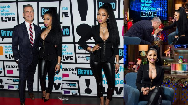 Nicki Minaj pose avec Elvis Duran en visitant The Elvis Duran Z100 Morning Show au Z100 Studios  (mercredi (17 Décembre) à New York City.)