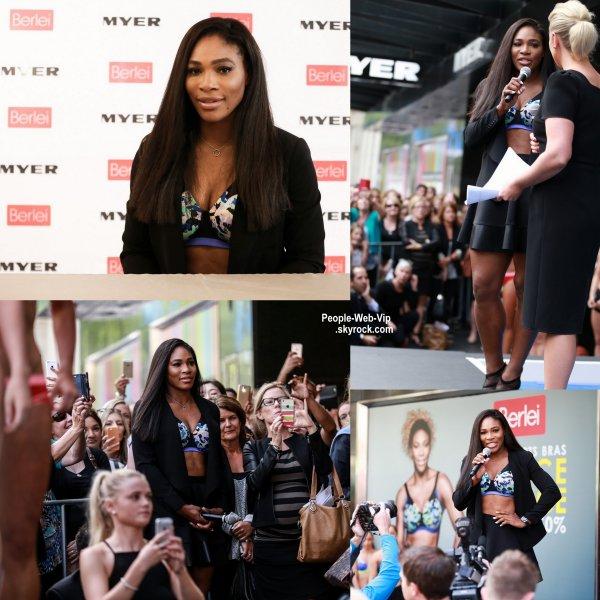 Serena Williams aperçue en Australie lors d'un événement promotionnel. Serena a posé pour la marque de lingerie dont elle est ambassadrice, Berlei.  ( jeudi après-midi (Décembre 15) à Melbourne, en Australie.)