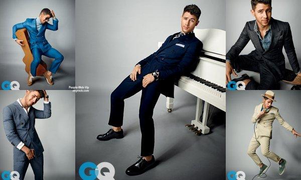 Nick Jonas pose dans le magazine américain GQ a paraître en Février. Le chanteur de 22 ans pose avec les marques Dolce & Gabbana, Gucci, Hugo Boss, Prada, Armani, Bally et Louis Vuitton, Ralph Lauren, Brunello Cucinelli, Burberry, Marc Jacobs, Michael Bastian et Adidas.  Qu'en pensez vous?