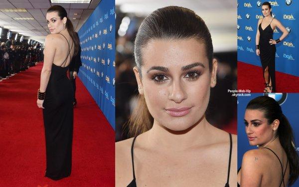 """Lea Michele toute mignonne sur le tapis rouge des """"2015 Directors Guild of America Awards"""" . L'actrice était avec son petit ami Matthew Paetz pour remettre un prix. Elle a aussi prit la pose avec son idole Barbra Streisand  ( samedi soir (7 Février) à Century City, en Californie.)"""
