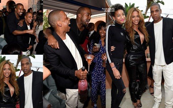 """Beyonce et son mari Jay Z, Willow Smith, Kanye West et sa femme Kim Kardashian, Rihanna, Janelle Monae, Kelly Rowland, Miguel, Lewis Hamilton, et Nick Minaj s'éclate tous à la """"Roc Nation, PUMA, and Three Six Zero Pre-Grammy Brunch"""" dans une résidence privée à Beverly Hills. (samedi après-midi (Février 7)  en Californie.)"""