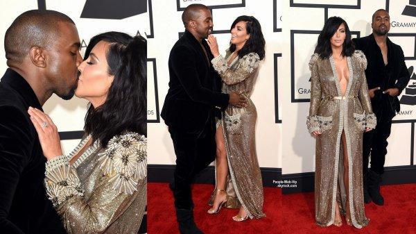 - LES GRAMMY's AWARDS 2015 - RED CARPET      La talentueuse Rihanna et sa robe de princesse, Beyonce, Nicki Minaj, Kim Kardashian et son homme Kanye West lors des Grammy's Awards tenue au Staples Center. (dimanche (8 Février) à Los Angeles.)