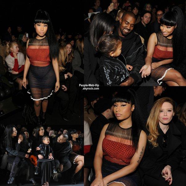 Kim Kardashian a été aperçue avec sa fille North et son mari Kante West lors du défilé de Robert Geller pendant la Fashion Week Mercedes-Benz au Pier 59. (samedi après-midi (14 Février) à New York City.)