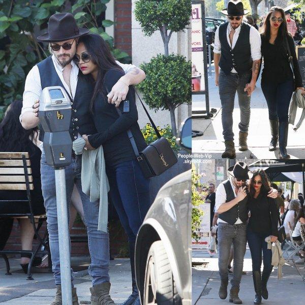 Zoe Saldana a été aperçue avec son mari Marco Perego dans les rues de Los Angeles. ( dimanche matin (15 Février) à Los Angeles.)