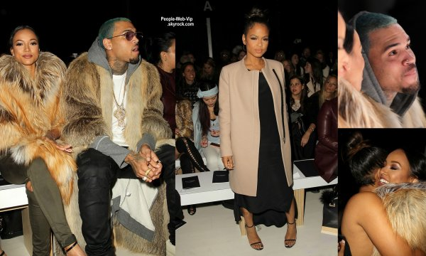 Chris Brown aperçue avec sa petite amie Karrueche Tran lors du show de Michael Costello pendant la Fashion Week Mercedes-Benz Automne / Hiver 2015. Le couple a été rejoint par Christina Milian. ( mardi après-midi (17 Février) à New York City.)