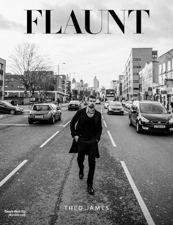 """Theo James pose pour le magazine """" Flaunt."""" Pour son photoshoot, Theo pose avec les marques Christian Louboutin, Burberry, Diesel, Dior Homme, Prada,  Gucci et Tiger of Sweden. Qu'en pensez vous?"""