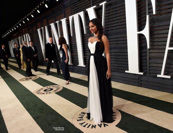 """- Vanity Fair Oscar Party -    Zoe Saldana et son mari Marco Perego, Jessica Chastain et Selena Gomez lors de la """"Vanity Fair Oscar Party"""" pendant les Oscars 2015.   ( dimanche soir (22 Février) à Beverly Hills, en Californie.)"""