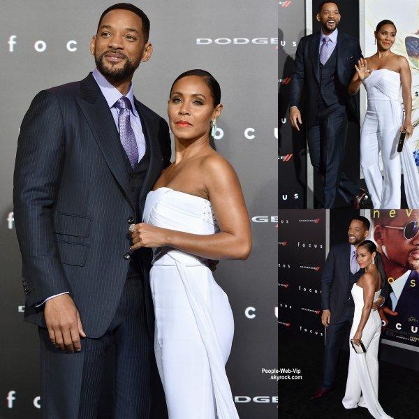 """Will Smith et sa femme Jada Pinkett Smith sur le tapis rouge à la première du film """"Focus"""" ( au Théâtre chinois TCL mardi (24 Février) à Hollywood.)"""