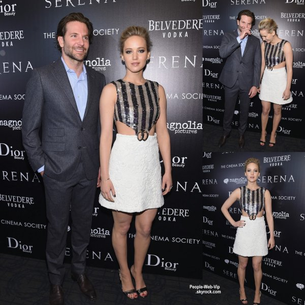 """Jennifer Lawrence et Bradley Cooper posent sur le tapis noir lors d'une projection de leur film """" Serena """" (samedi soir (21 Mars) à New York City.)"""