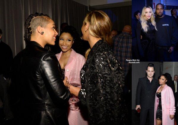 #TIDALforALL - Backstage  Rihanna, Madonna, Alicia Keys, Nicki Minaj et Beyonce prennent la pose pour des photos dans les coulisses du lancement de Tidal tenue au Skylight  (lundi (30 Mars) à New York City.)