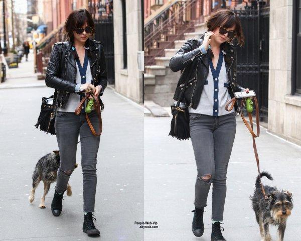 Dakota Johnson a été aperçue dans les rues de New York avec son adorable chiot. (mercredi après-midi (Avril 1) à New York City.)