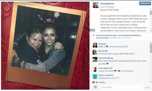 ANNONCE : Nina Dobrev quitte la série «Vampires Diaries»: