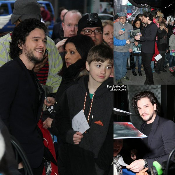 "Kit Harington aperçue à New York pour faire une apparition à l'émission ""Good Morning America""  (mercredi (8 Avril) à New York City.)"