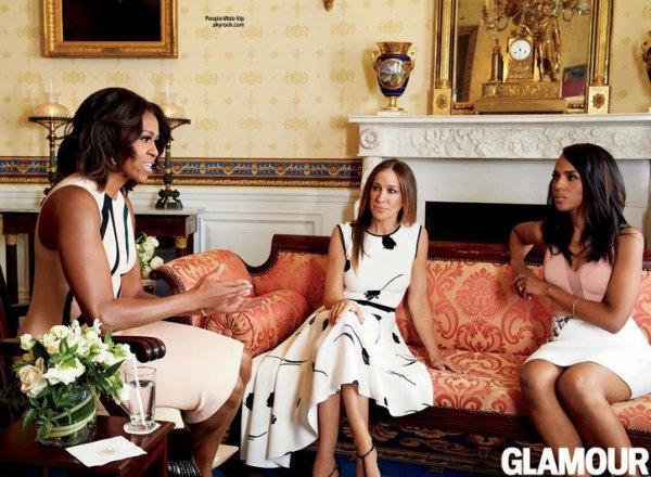 Michelle Obama prend la pose a coté de Kerry Washington et Sarah Jessica Parker pour la couverture du numéro de mai du magazine américain Glamour  Qu'en pensez vous?