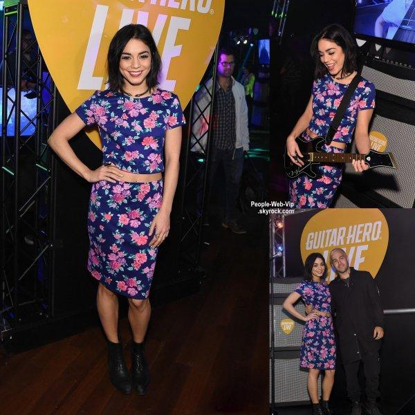 """Vanessa Hudgens a été aperçue au lancement du jeu """"Guitar Hero Live"""".  Que pensez vous de sa tenue? ( mardi (14 Avril) à New York City.)"""