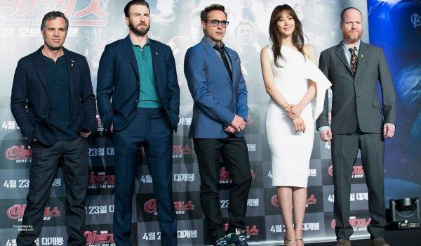 Chris Evans a assister à une conférence de presse pour son dernier film Avengers: Age of Ultron. L'acteur a été rejoint par ses co-stars Robert Downey Jr., Claudia Kim, Mark Ruffalo et scénariste et réalisateur Joss Whedon (à Conrad Séoul vendredi (17 Avril) à Séoul, Corée du Sud.)